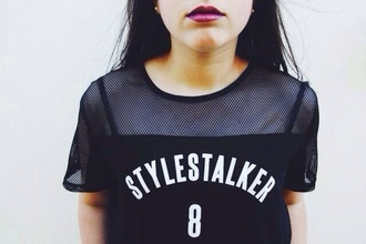 shirt black jersey lettering black and white blouse
