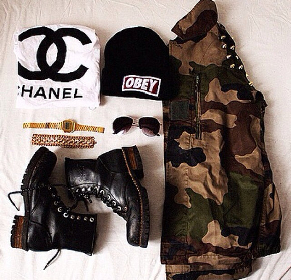 jacket army jacket combat boots shoes jewels t-shirt chanel obey studded jackets chanel t shirt sunglasses watches bracelets studs hat