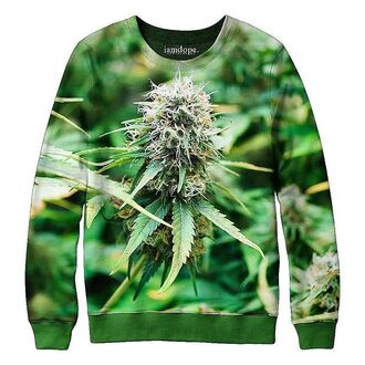 sweater iamdope weed mary-jane dope alloverprint smoke