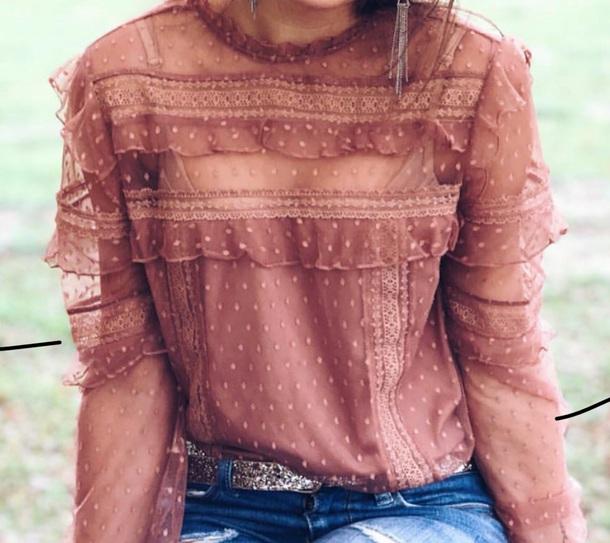 shirt mauve pattern transparent ruffle