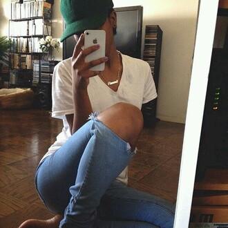 hat baseball hat green hat snapback cap jeans