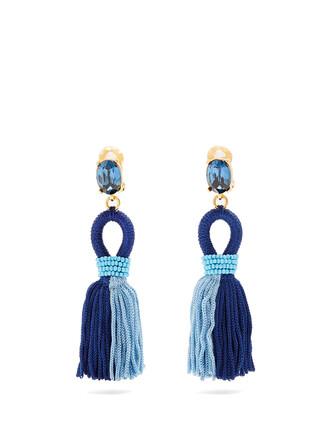 short tassel earrings blue jewels