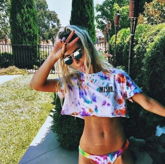 shirt colourful shirt colourful print blonde hair sunglasses bikini tie dye crop tops