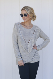sweater,Xenia,crew neck sweater,fringe sweater,cozy and warm