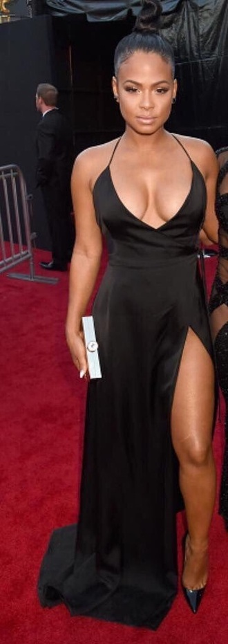 black dress v neck v neck dress slit dress halter dress sexy dress prom dress christina milian red carpet dress celebrity style black girls killin it