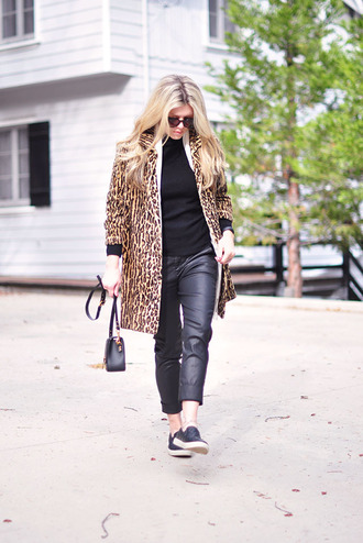 love maegan blogger sweater sunglasses animal print cropped pants vans winter coat