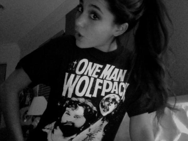 t-shirt ariana grande cool shirt one man wolf pack t-shirt t-shirt black black t-shirt black t-shirt