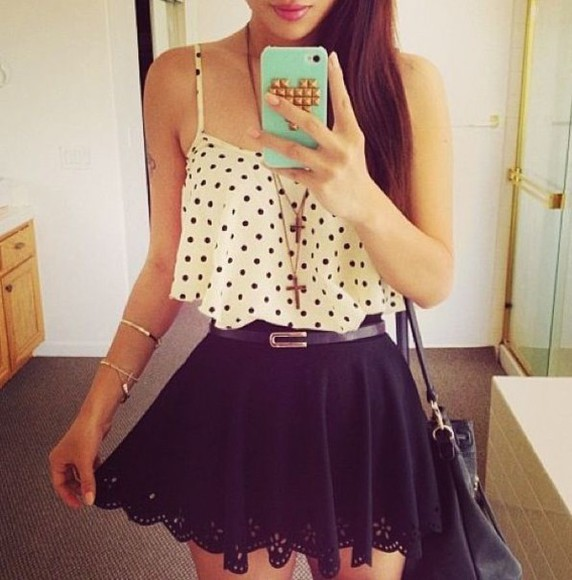 blouse polka dots cross necklace black skirt skirt