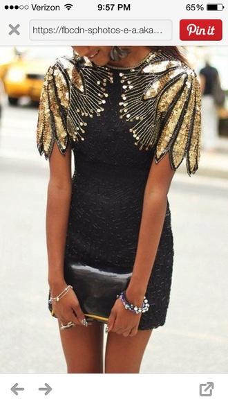 dress shoulder details gold sequins little black dress mini dress