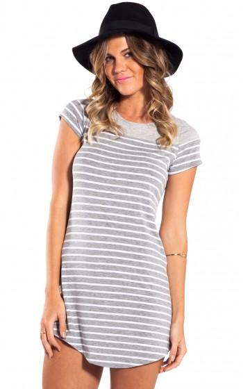 Happy hour dress in grey with white stripe