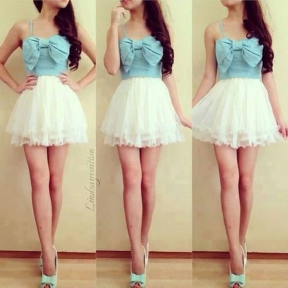 beandeau light blue white dress cute skirt fluffy ribbon dress white skirt ribbon