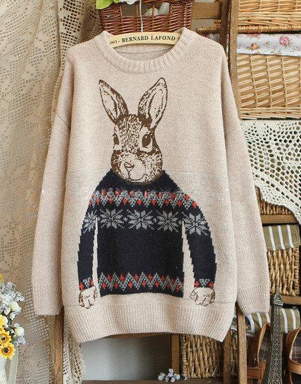 Cartone animato coniglio vintage maglione di bernardlafond