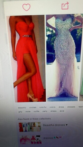 dress coral pink 2015 prom 2014 full length forever hill model heart ball sparkle sequins