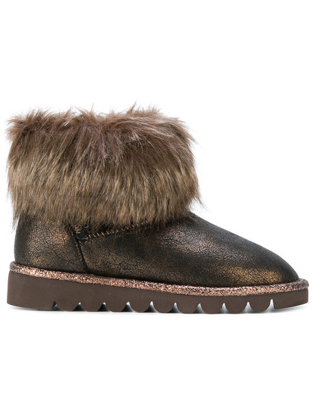 fur women ankle boots brown shoes