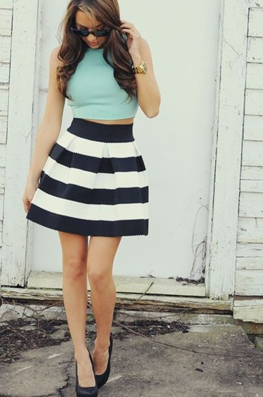 stripes skirt skater skirt