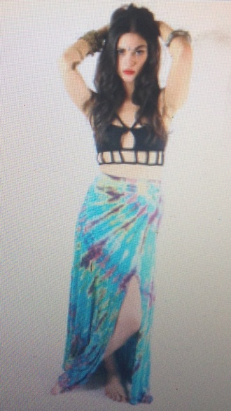 skirt long skirt tie dye tie dye maxi skirt colourful festival pattern