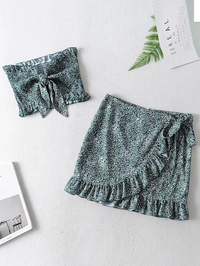 Ditsy Floral Shirred Bandeau & Wrap Skirt