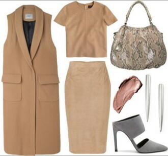 coat beige grey pink snake print sleeveless crop top and pencil skirt grey heels snake print bag