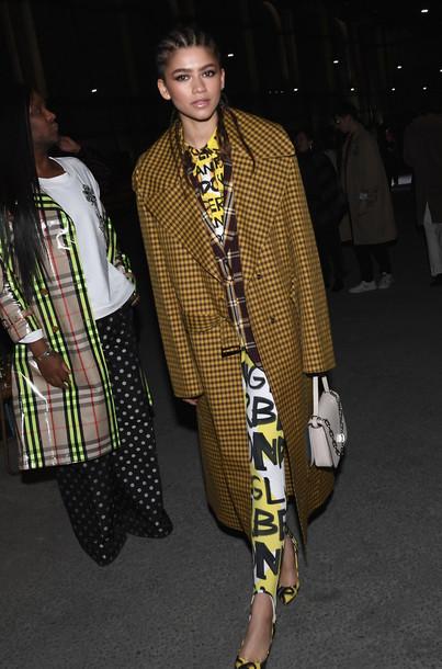 leggings coat top london fashion week 2018 fashion week celebrity zendaya