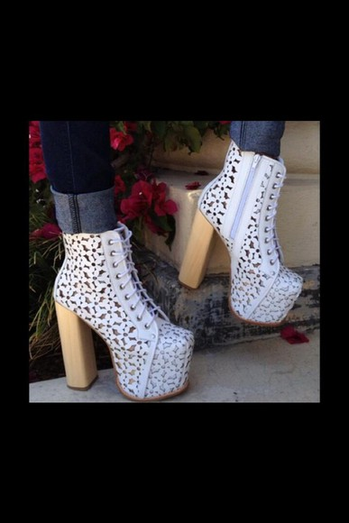 shoes floral white jeffrey campbell platform shoes platform high heels
