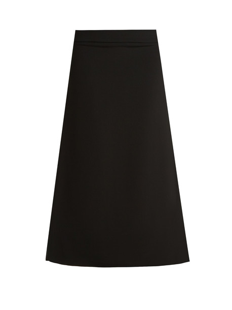 RAEY Split-side crepe A-line midi skirt in black