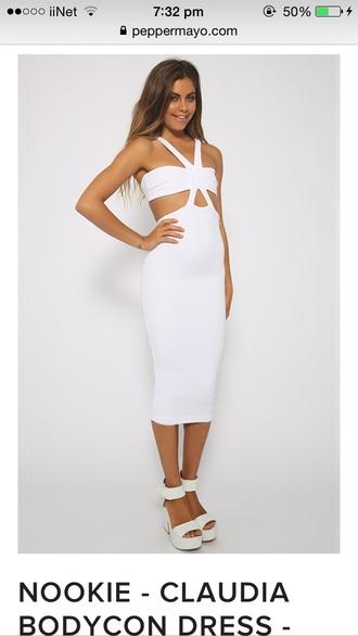 dress white nookie bodycon