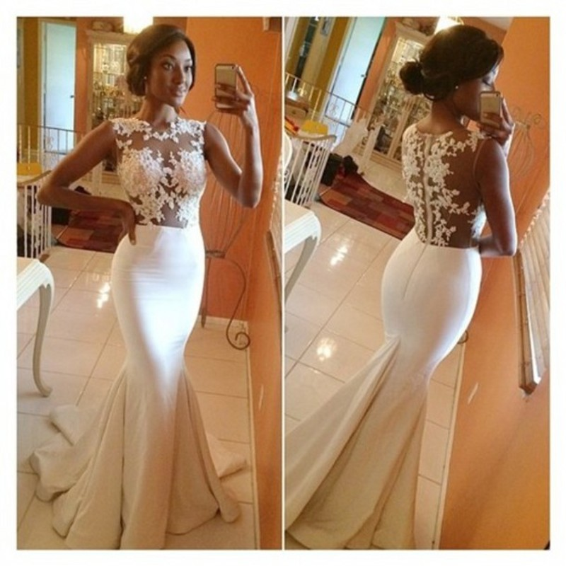 Charming Custom Made High Neck Sheer Lace Long Mermaid Sexy White Prom Dresses 2014 Party Dress Elegant Evening Dresses-in Evening Dresses from Apparel & Accessories on Aliexpress.com | Alibaba Group