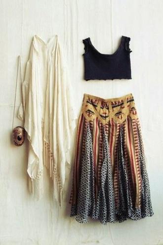 skirt yellow black red maxi skirt boho bohemian vintage boho chic bag jacket