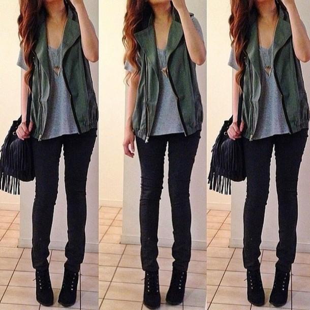jacket green grey bag black fringe leather chic coat