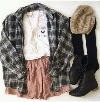 shirt flannel shirt fashion grunge black white boots hat socks necklace jewels skirt alien hipster