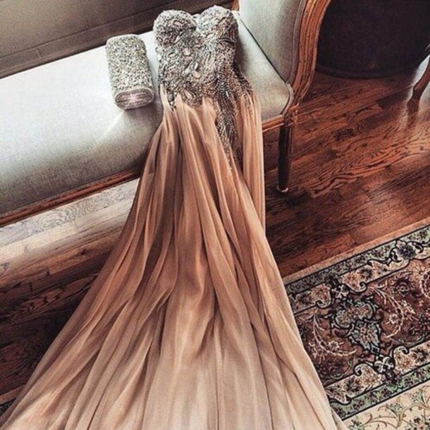 246112814c5 dress strapless prom long sweetheart neckline ombre beaded nude silver tan  prom dress beautiful dresses sparkle