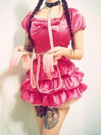 girly goth velvet pink velvet girl little lolita lolita dress gothic lolita gothic lolita dresses kinky