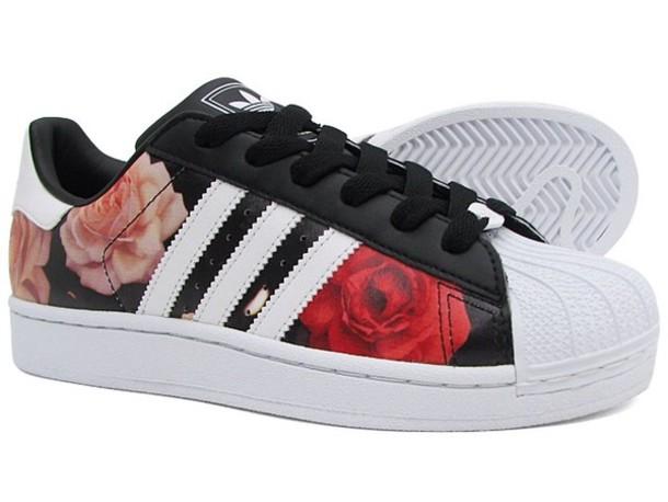 adidas superstar floral black