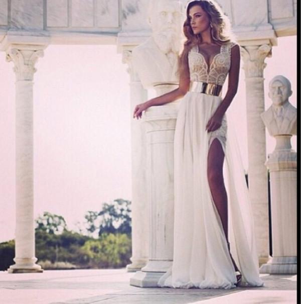 dress white long dress long dress white dress gold belt wedding