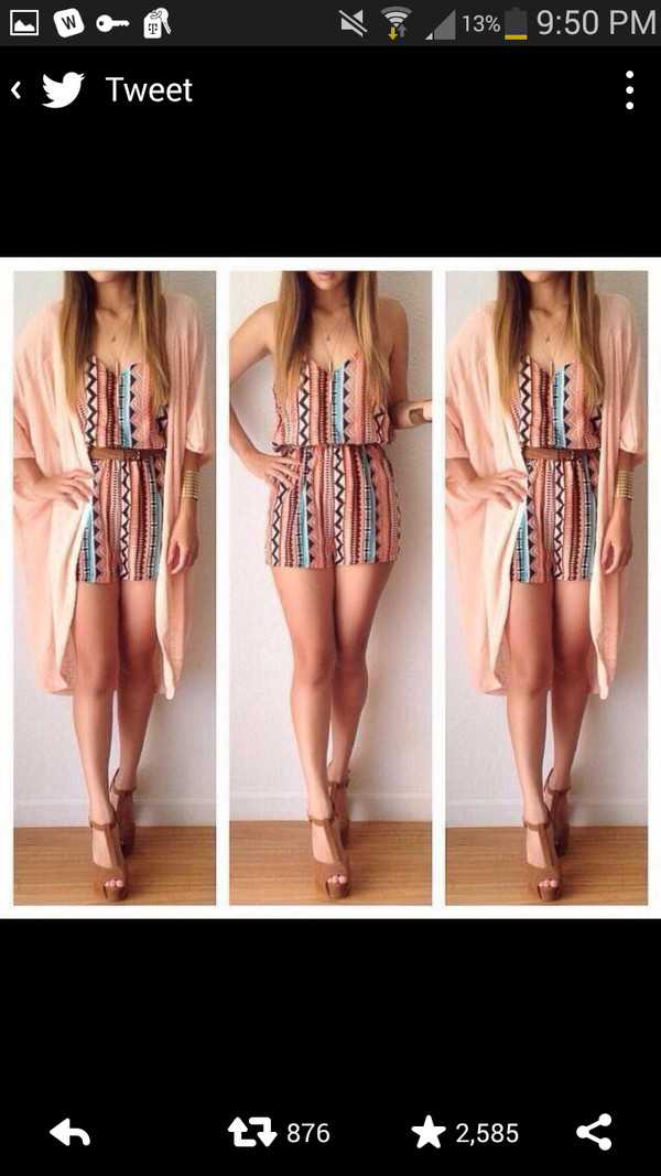 romper cardigan shoes