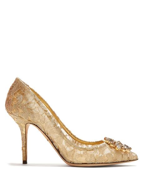 embellished pumps lace gold shoes