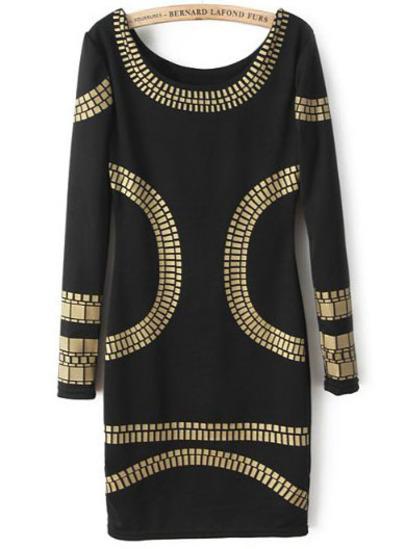 Black Long Sleeve Backless Body Conscious Dress - Sheinside.com