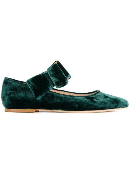 Polly Plume bow women leather silk velvet green shoes