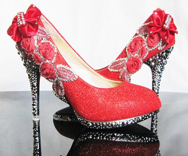elegant rhinestones wedding shoes thin heel shoes
