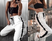 pants,white,black,black and white,joggers,stripes