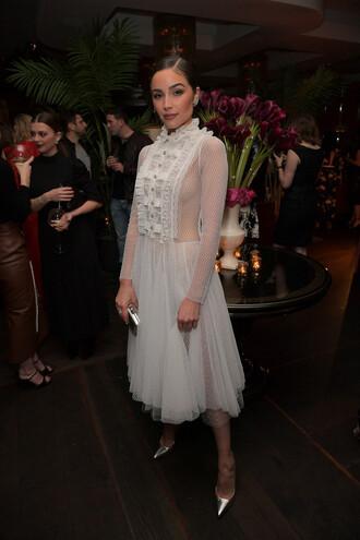 dress white white dress white lace dress olivia culpo midi dress tulle dress pumps mesh dress mesh see through see through dress shoes