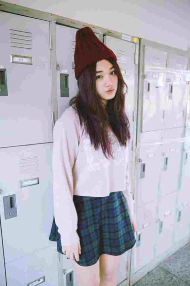 skirt tartan back to school beanie pale pale grunge grunge sweater plaid skater skirt kawaii grunge kawaii soft grunge skater skirt