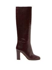 knee-high boots,high,leather,crocodile,burgundy,shoes
