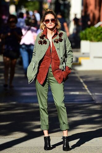 shirt pants jacket sunglasses fall outfits ankle boots blogger olivia palermo streetstyle shoes
