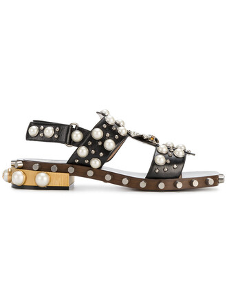 studded metal women pearl sandals studded sandals leather black shoes
