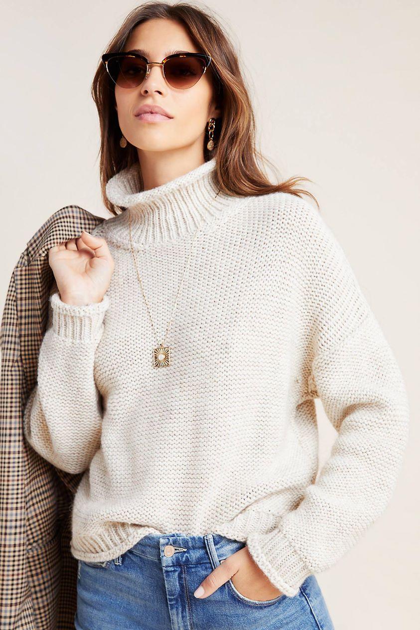 Lottie Textured Sweater by Anthropologie in Beige