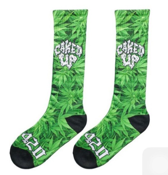 socks green weed socks