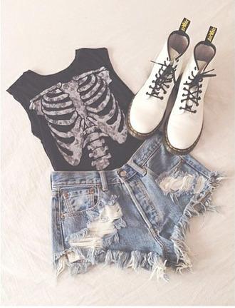 top shirt shorts white tank top black fashion black t-shirt beautiful skeleton goth hipster bones style ribs bones xray