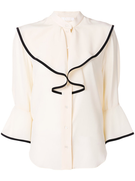 Chloe blouse embroidered women nude silk top