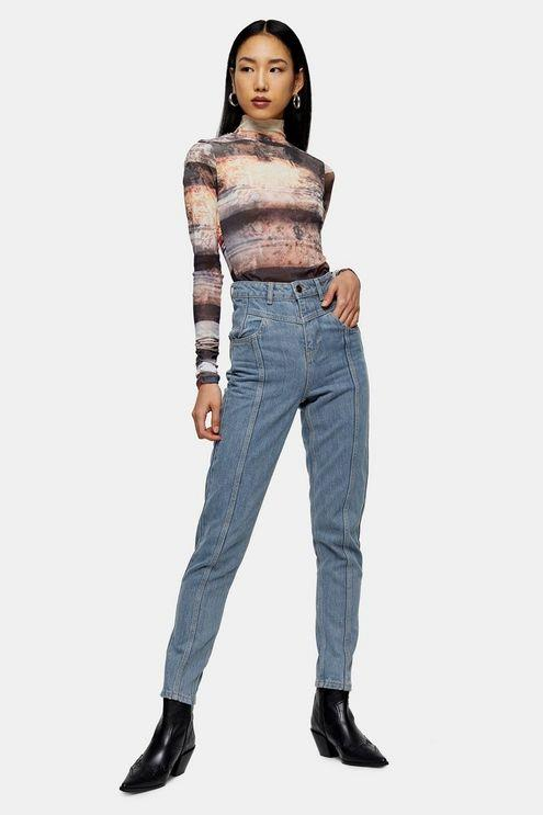 Bleach Yoke Panel Mom Jeans - Bleach Stone